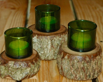 Trio of candle/votive holders - Black Walnut