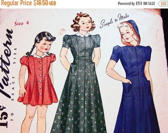 on SALE 25% OFF 1940s Toddler Dress Pattern size 4 Little Girls Dress and Housecoat, Robe with Hood Vintage Sewing Pattern 40s easy to sew