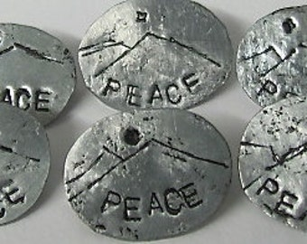 Peace Pin.ONSALE. Silver TIN Pin. Mountain Peace Pin - Oval Stamped Brooch. Recycle Metal TIN Pin.