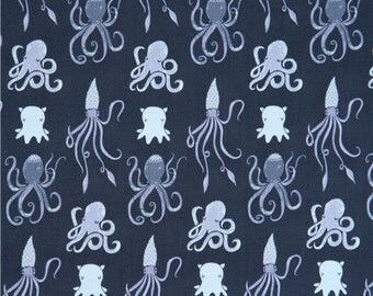 213452 dark grey-blue fabric cute funny squid octopus animal by Dear Stella USA