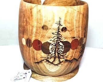 """YARN BOWL, """"Yarns of Joy"""", avocado wood"""