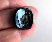 Black Glass Vintage Roman Warrior Intaglio, Black Cameo Cabochon 15x15mm Diamond Shape, Black Glass Cabochon Intaglio Reverse Cameo