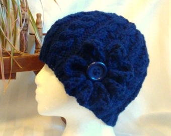 Winter Hat. Optional Crocheted Flower. Cable Beanie.  Adult Knit Hat. Dark Blue. Midnight Blue. Navy Blue. Beanies for Men.Beanies for Women