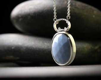 Large African blue rose cut opal sterling silver long pendant with hammered textured bail
