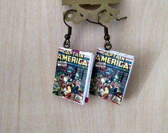 Mini Captain America Comic Book Earrings - Book Jewelry - Handmade Book Earrings - Captain America Jewelry - Handmade Comic Book Earrings