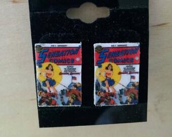 Wonder Woman Stud Book Earrings - Handmade Comic Book Jewelry - Handmade Book Earrings - Comic Book Jewelry - Handmade Comic Book Earrings