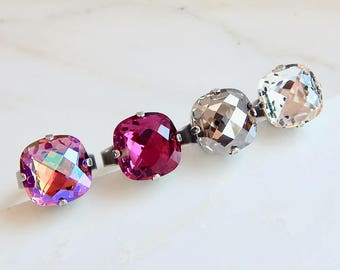 Large crystal cocktail ring - square stone ring - swarovski crystal -  hot pink - clear - silver