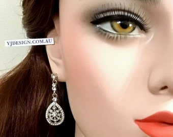 Art Deco Wedding Earrings, Gatsby Bridal Earrings, Crystal Wedding Jewelry, Gift for Her, Bridesmaid Gift, Swarovski Bridal Jewelry, DECORA