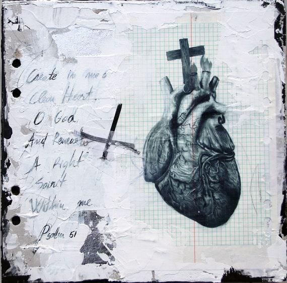 Psalm 51 - original mix media artwork on wood panel