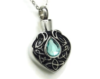 Blue Tear Cremation Jewelry Engravable Tear Drop Urn Necklace For Person or Pet Memorial Keepsake Urn Pendant March December Birthstone Urns