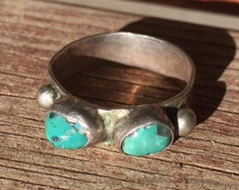 Navajo Turquoise Wedding Band Ring - Mid Century Sterling Ring -  sz 8 1/2