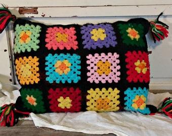 Vintage Granny Square Pillow | Boho Throw Pillow