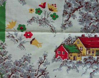 Vintage Cottage in the Woods Fabric Pair / Curtains / Tea towels