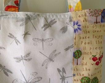 Tote bag, shoulder bag, lined handbag, large purse, white gray dragonflies cupcakes stars pies cotton, snap closure, Bohemian Bag Lhasa i533