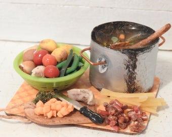 Miniature Doll House Making Soup