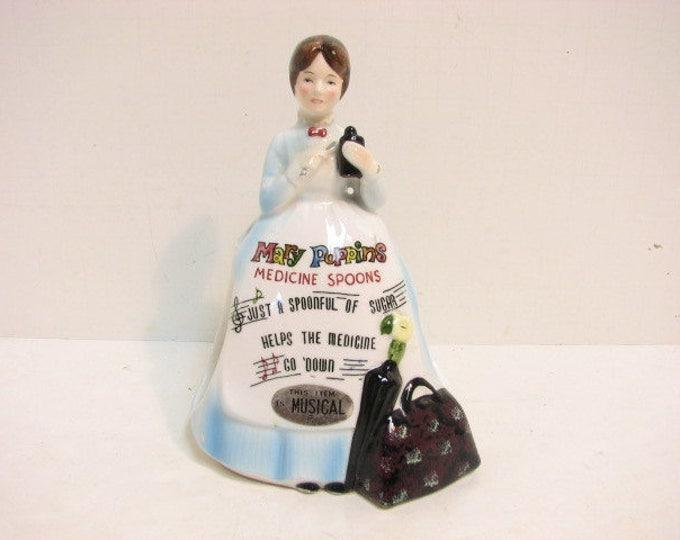 Vintage Mary Poppins Musical Spoon Holder, Walt Disney Movie Memorabilia Porcelain Figurine