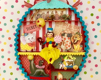 Circus Monkey Shadowbox/Artwork/Children's Room Art