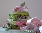 bouquet fringe effects™  21 yard fiber art yarn bundle . carnation pink spring green . sari silk merino wool dyed ribbons sparkle yarn pack