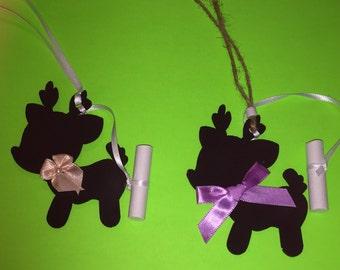 Set Of 2 Reindeer Chalkboard Christmas Ornaments