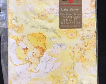 Vintage American Greetings Baby Shower Gift Wrap NOS
