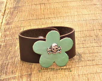 Skull and Crossbones Flower Leather Cuff Bracelet rocker girl chic fashion style brown mint green metallic adjustable antique silver floral