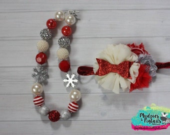 chunky necklace or baby headband set { Snowflake Flutter } red silver cream snowflake  Holiday Necklace, First Birthday, photography prop