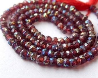 Garnet Gemstone. Semi Precious Gemstone. AB Garnet Faceted Rondelle Bead 4mm.  Strand Your Choice  (bgn)