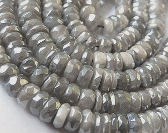 "Gray Moonstone Gemstone Bead Semi Precious Gemstone. Diamond Gray Moonstone Faceted Rondelle. 5.5 - 7mm Strand 1"" to 13"" Your Choice (51mn1)"