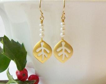 Leaf and Pearl Earrings