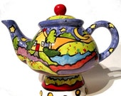 50% OFF Its a Glorious Life one of a kind teapot by tabletop designer Nicole Engblom