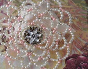 Bat Mitzvah Kippah - Unique Kippah - Cream and Pink Pearls Kippah - Temple Head Covering.