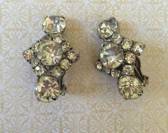 Rhinestone Clip Earrings Bridal Wedding Vintage Jewelry Stocking Stuffer