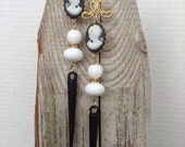 Cameo gothic black and white earrings