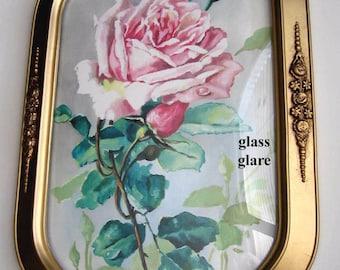 Catherine Klein, Roses, Print, Art Print, Half Yard Long, Antique, Barbola, Frame, Convex Glass, Shabby Chic, C Klein