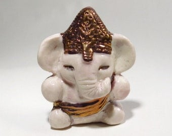 Ganesh Statue with Gold Luster Miniature Ceramic White Elephant Ganesha Figurine