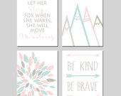 MOUNTAIN NURSERY ART for Girl Arrow Nursery Decor - Let Her Sleep For When She Wakes She Will Move Mountains, Be Kind Be Brave - Set of 4