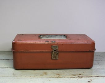 Vintage TOOL BOX- Industrial Metal TACKLE Box with Divided Tray- Art Supply Box- Organizer- Vintage Industrial Carrier