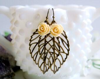 Rose Earrings, Leaf Earrings, Boho Jewelry, Gift for Her, Boho Earrings, Wedding Jewelry, Boho Wedding, Statement Earrings, Summer Jewelry