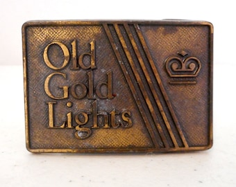 Old Gold Lights Belt Buckle Cigarette Promo Smoking Vintage Retro Unisex Distressed