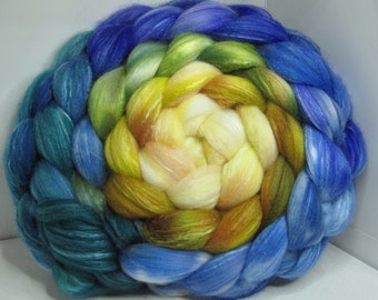 Organic Polwarth/Bombyx 80/20 Roving Combed Top 5oz - Beach House 2 - OoaK