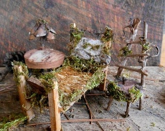 Fairy Furniture Set, Bed, Chair, Table, Natural and reclaimed Marerials, miniature fairy house accessories, bedroom furniture, FREE SHIPPING