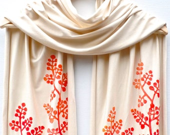 NEW Hand printed jersey scarf Natural/Oranges