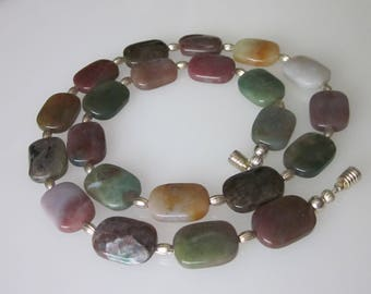 Jasper Necklace, Beaded Fancy Jasper Gemstone, Semi Precious Stone, Magnetic Clasp, Gift