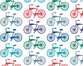 Bikes Fabric - Cruiser Bikes By Andiart - Bicycle Red Blue Green Gray Wheels Cotton Fabric By The Yard With Spoonflower