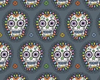 Sugar Skulls Fabric - Sugar Skull Hero Grey By Andiart - Sugar Skulls Cotton Fabric By The Yard With Spoonflower