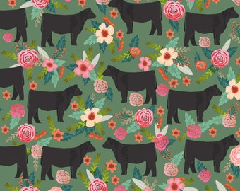 Show Steer Fabric - Steer Floral Cows Farm Barn - Medium Green By Petfriendly - Country Farmhouse Cotton Fabric by the Yard with Spoonflower