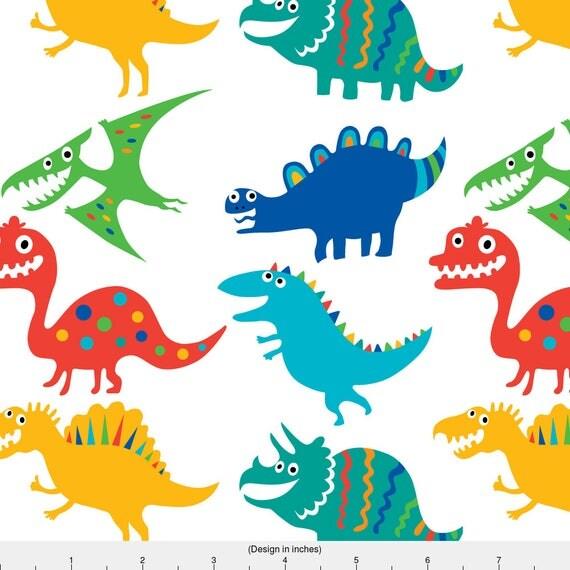 Dinosaur fabric dinosaur cuties by andibird dinosaur kids for Kids dinosaur fabric