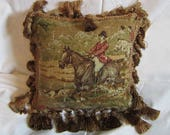 FOXHUNTING Brown/Olive Green Tones Horse Pillow Quality Tapestry Fabric w/Dark Gold Large Tassel Trim....Beautifully Handmade