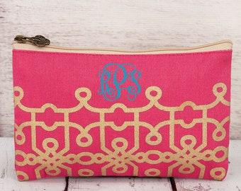 GOLD and HOT PINK jute cosmetic bag, personalized makeup bag, monogrammed cosmetic bag, bridesmaid bag,