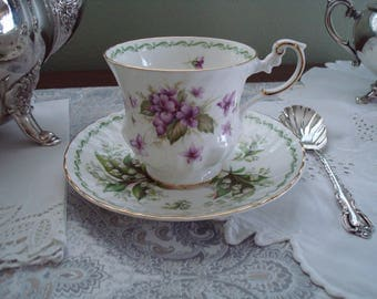 Charming Mix-and-Matched Cup and Saucer Set, Queens Fine Bone China, Special Flowers, White, Green, Lavender, Footed Teacup